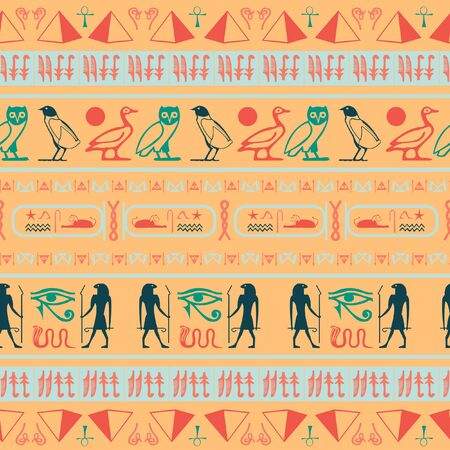 Ancient egypt writing seamless vector. Hieroglyphic egyptian language symbols grid. Repeating ethnical fashion illustration for book or comics illustration. Ilustrace