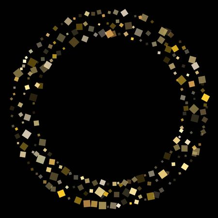 Geometric gold confetti sequins sparkles flying on black. Chic Christmas vector sequins background. Gold foil confetti party glitter pattern. Square particles party background.