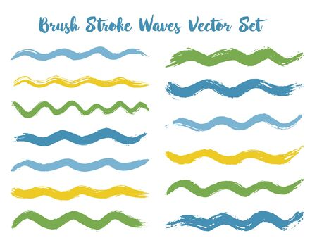 Simple brush stroke waves vector set. Hand drawn green blue brushstrokes, ink splashes, watercolor splats, hand painted curls. Interior colors guide book swatches. Textured waves, stripes design.