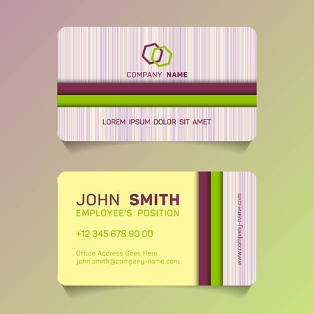 Stylish business card papercut idea vector templates set. Simple business card graphic design with place for company name, employee's position, phone number, website and office address.