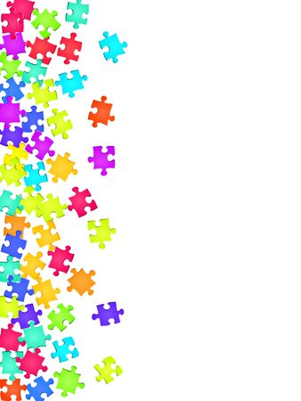 Abstract riddle jigsaw puzzle rainbow colors pieces vector background. Scatter of puzzle pieces isolated on white. Success abstract concept. Connection elements. Фото со стока - 139633475