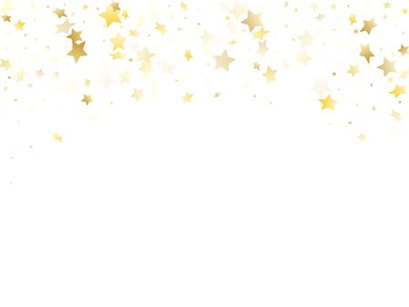 Magic gold sparkle texture vector star background. Vintage gold falling magic stars on white background sparkle pattern graphic design. Holiday starlight card backdrop.