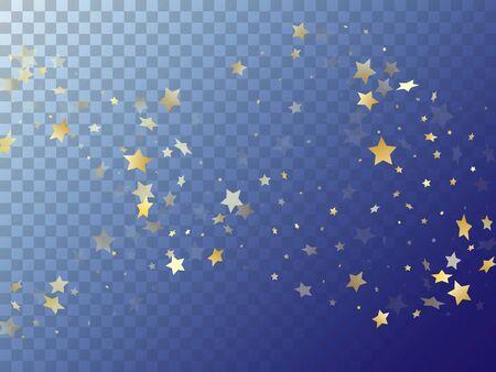 Star shining gold gradient sparkles on transparent background. Festive vector magic stars gold falling sparkles with gradient texture on transparent. Birthday confetti glitter flying pattern.