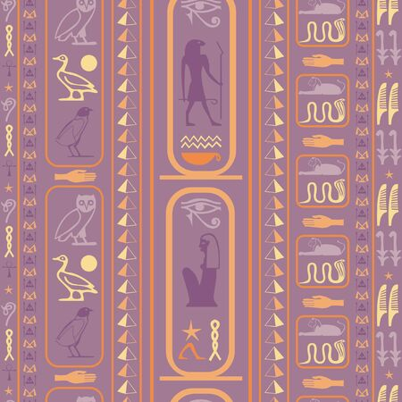 Ancient egyptian motifs seamless pattern. Ethnic hieroglyph symbols origami. Repeating ethnical fashion graphic design for wrapping paper. Ilustrace
