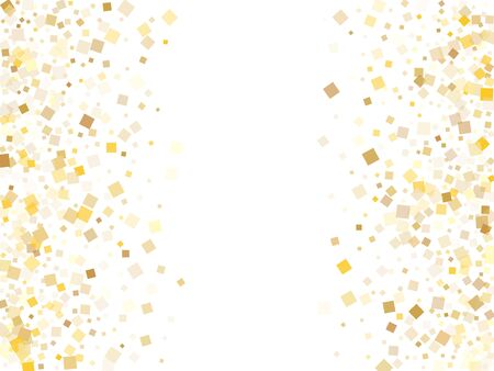 Yellow gold square confetti tinsels flying on white. Glittering holiday vector sequins background. Gold foil confetti party glitter graphic design. Light dust particles surprise backdrop. Banco de Imagens - 139633528
