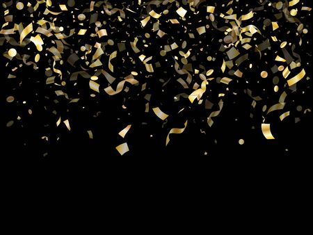 Gold glossy confetti flying on black holiday vector backdrop. Modern flying tinsel elements, gold foil gradient serpentine streamers confetti falling festive vector.