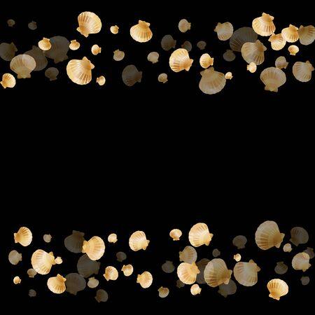Gold seashells vector, golden pearl bivalved mollusks. Underwater scallop, bivalve pearl shell, marine mollusk isolated on black wild life nature background. Trendy gold sea shell illustration.