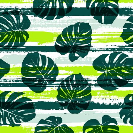 Tropical monstera philodendron liana hole leaves over painted stripes seamless pattern design. Madagascar forest foliage beach fashion fabric print. Floral tropical leaves seamless design. Иллюстрация
