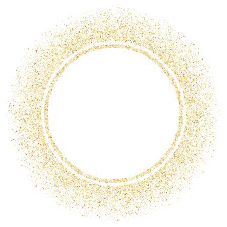 Gold sparkles glitter dust metallic confetti vector background. Glamour golden sparkling background. Gold stardust texture tinsel confetti xmas vector. Glitter shine festive sparkles design.