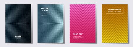 Futuristic covers linear design. Geometric lines patterns with edges, angles. Abstract backgrounds for notepads, notice paper covers. Line stripes graphics, title elements. Cover page templates.