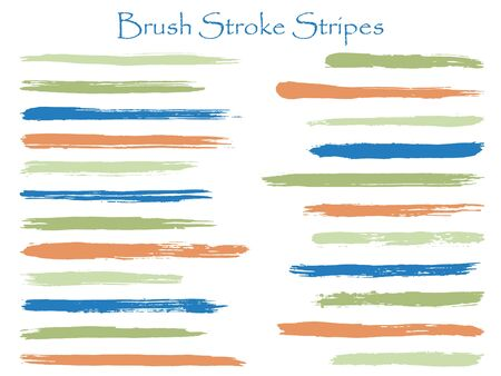 Funky green blue ink brush stroke stripes vector set, horizontal marker or paintbrush lines patch. Hand drawn watercolor paint brushes, smudge strokes collection. Interior colors scheme elements.