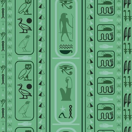 Ancient egypt writing seamless vector. Hieroglyphic egyptian language symbols grid. Repeating ethnical fashion vector for brochure or book cover.