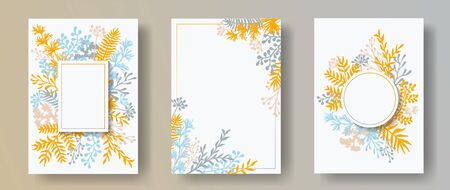 Wild herb twigs, tree branches, leaves floral invitation cards collection. Herbal frames retro cards design with dandelion flowers, fern, lichen, olive tree leaves, sage twigs.