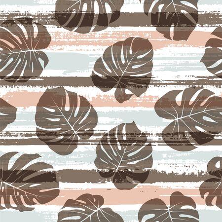 Cool monstera philodendron liana hole leaves over painted stripes seamless pattern design. Hawaiian jungle foliage beach fashion fabric print. Geometric floral tropical leaves seamless.