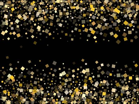 Trendy gold square confetti tinsels falling on black. Glittering holiday vector sequins background. Gold foil confetti party pieces space. Many sparkles surprise backdrop. Ilustração