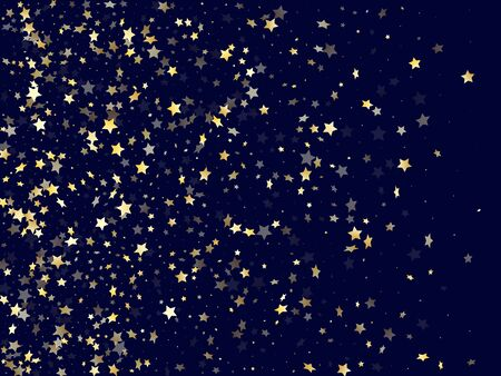 Gold falling star sparkle elements of glitter gradient vector background. Glowing confetti gold stars falling glitter gradient sparkles on dark blue. Party starburst magical pattern.