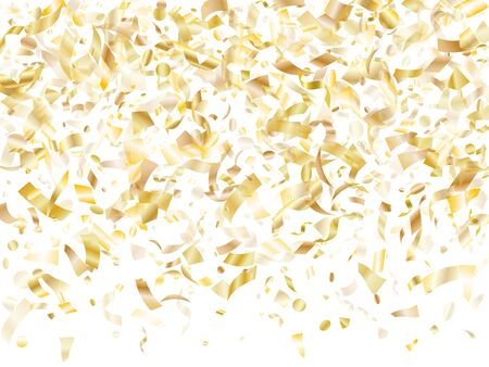 Gold glowing confetti flying on white holiday vector background. Glamourous flying sparkle elements, gold foil gradient serpentine streamers confetti falling new year vector.