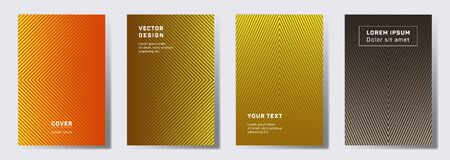 Minimalistic covers linear design. Geometric lines patterns with edges, angles. Linear poster, flyer, banner vector backgrounds. Line stripes graphics, title elements. Annual report covers. Illustration