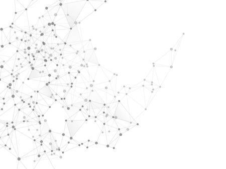 Concetto cibernetico della struttura geometrica del plesso. Sfondo del plesso in scala di grigi dei nodi di rete. Nodi del cerchio ed elementi di linea. Progettazione di poligoni di realtà virtuale. Vettore di forma della griglia della struttura delle coordinate.