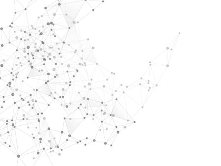 Geometric plexus structure cybernetic concept. Network nodes greyscale plexus background. Circle nodes and line elements. Virtual reality polygin design. Coordinates structure grid shape vector.