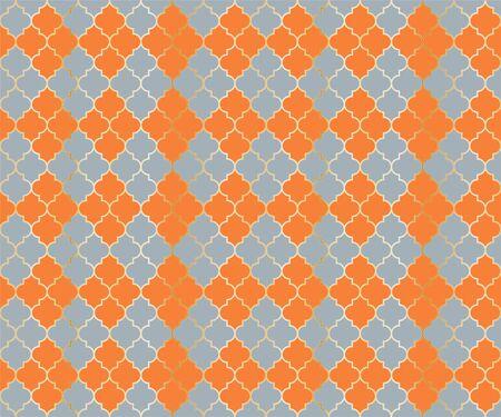 Islamic Mosque Vector Seamless Pattern. Argyle rhombus muslim textile background. Traditional mosque pattern with gold grid. Stylish islamic argyle seamless design of lantern lattice shape tiles. 向量圖像