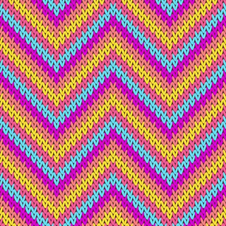 Yarn zigzag chevron stripes knitting texture geometric vector seamless. Pullover stockinet ornament. Nordic style seamless knitted pattern. Fabric canvas illustration.