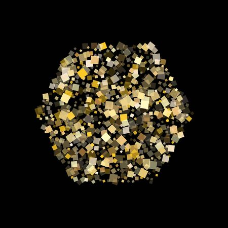 Abstract gold square confetti sparkles flying on black. Shiny Christmas vector sequins background. Gold foil confetti party glitter space. Light dust pieces invitation backdrop. Foto de archivo - 139797494