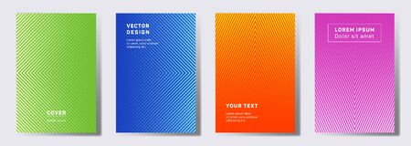 Futuristic covers linear design. Geometric lines patterns with edges, angles. Gradient backgrounds for catalogues, business magazine. Lines texture, header title elements. Cover page layouts set. Illustration
