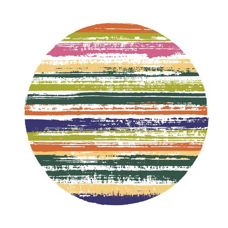 Ragged circle vector geometric shape with striped texture of ink horizontal lines. Planet concept with old paint texture. Label round shape circle element with grunge background of stripes.