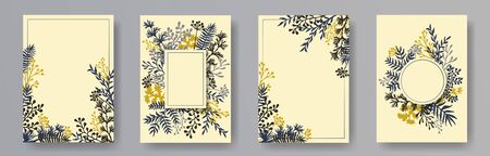 Hand drawn herb twigs, tree branches, leaves floral invitation cards templates. Bouquet wreath elegant cards design with dandelion flowers, fern, lichen, olive branches, savory twigs.