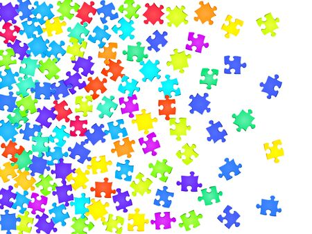 Game tickler jigsaw puzzle rainbow colors pieces vector background. Group of puzzle pieces isolated on white. Teamwork abstract concept. Jigsaw gradient plugins. Vettoriali