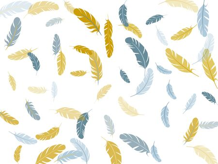 Carnival silver gold feathers vector background. Detailed majestic feather on white design. Soft plumelet native indian ornament. Wildlife nature isolated plumage.