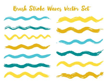 Simple brush stroke waves vector set. Hand drawn yellow cyan brushstrokes, ink splashes, watercolor splats, hand painted curls. Color combinations catalog elements. Summer design paint brush curves.