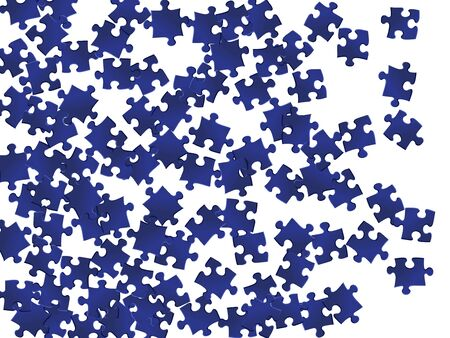 Business brainteaser jigsaw puzzle dark blue parts vector illustration. Top view of puzzle pieces isolated on white. Strategy abstract concept. Game and play symbols.