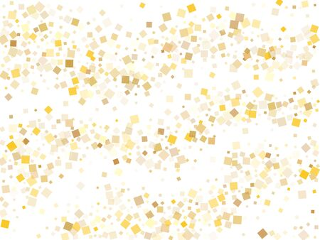 Yellow gold square confetti sparkles scatter on white. Chic holiday vector sequins background. Gold foil confetti party particles illustration. Square pieces invitation backdrop. Ilustração