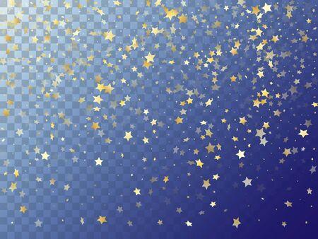 Star shining gold gradient sparkles on transparent background. Trendy vector magic stars gold falling sparkles with gradient texture on transparent. New Year starburst lights card pattern. Ilustração