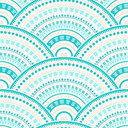 Reticolo senza giunte di vettore cinese medaglioni mosaico ornamento tessile. Motivi popolari capesante ripetute a mano. Modello geometrico senza cuciture degli elementi della mandala del cerchio popolare giapponese.