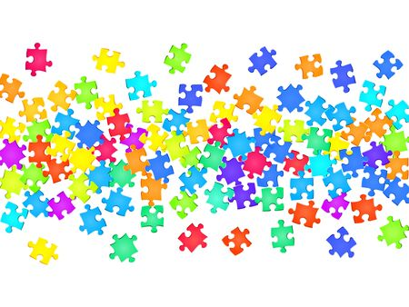 Business mind-breaker jigsaw puzzle rainbow colors parts vector illustration. Scatter of puzzle pieces isolated on white. Cooperation abstract concept. Jigsaw match elements.
