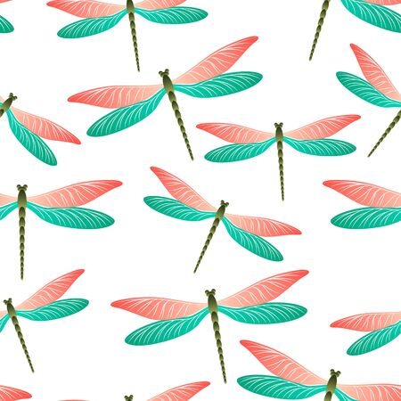 Dragonfly charming seamless pattern. Summer dress textile print with flying adder insects. Close up water dragonfly vector illustration. Wildlife creatures seamless. Damselfly bugs. Vektorgrafik