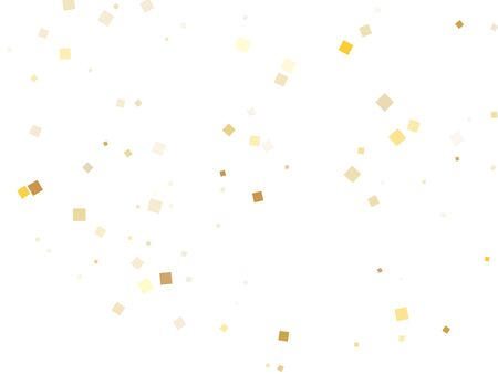 Glossy gold square confetti tinsels falling on white. Chic Christmas vector sequins background. Gold foil confetti party pieces illustration. Many particles invitation backdrop. Ilustração