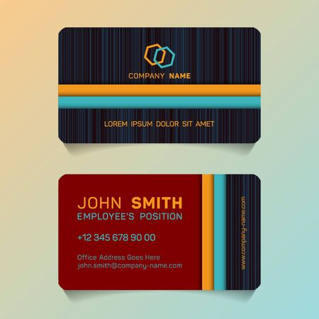 Geometric business card papercut idea vector templates set. Personal business card graphic design with place for logo, company name, employees position, phone number, website and office address.