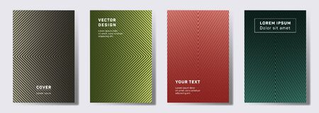 Dynamic cover templates set. Geometric lines patterns with edges, angles. Linear backgrounds for cataloges, corporate brochures. Line stripes graphics, title elements. Cover page templates. Illustration