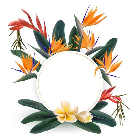 Tropical flowers and green leaves round frame. Circle border with tropical plants - Strelitzia bird of paradise and franipani flower. Card template with floral bouquet frame, wreath.