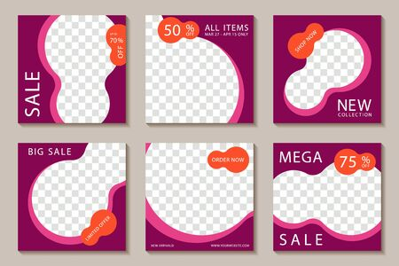 Sale social media banner post templates, magenta editable frames. Big mega sale promotion mockups, banner layouts with off discount, new collection arrivals, limited offer, social promotion