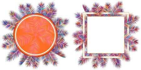 Colorful tropical palm leaves frames botanical vector illustration. Exotic nature cards or banners with border for text isolated on white background. Jungle leaf floral round patterns, text frames.