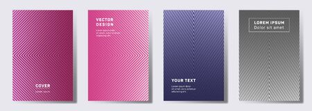 Dynamic cover templates set. Geometric lines patterns with edges, angles. Halftone backgrounds for catalogues, business magazine. Lines texture, header title elements. Cover page templates.