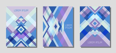 Set of cover page layouts, vector templates geometric design with triangles and stripes. Ethnic mexican motifs. Bauhaus pattern vector covers design. Trendy rhombus stripe triangle shapes.