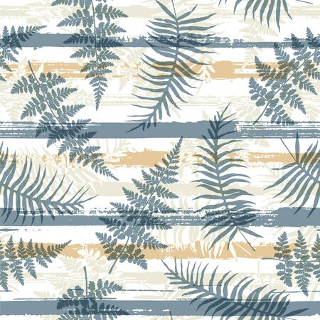 Modern new zealand fern frond and bracken grass over painted stripes seamless pattern design. Indonesian forest foliage summer fashion print. Stripes and tropical leaves illustration.