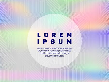 Hipster presentation holographic gradient vector template. Abstract wallpaper with holo texture. Beautiful gradient holographic background for presentation.