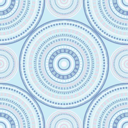 Islamic folk motifs seamless pattern. Circle medallion mandala geometric tiles. Textile print template. Clothes, carper or tile pattern. Classic circular seamless ornament. Cute mandala design. Ilustrace